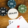 Gambling blackjack concept with betting chips and cards — Stock Photo #55058273