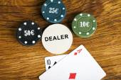 Gambling blackjack concept with betting chips and cards — Stock Photo