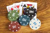 Gambling poker concept with betting chips and cards — Stock Photo