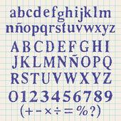 Blue alphabet handmade — Stock Vector
