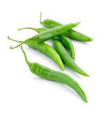 Pimientos verdes aislados sobre un fondo blanco — Foto de Stock