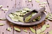 Aromatic bay leaves with peppercorns — Stock Photo