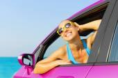 Car woman driver happy — Stock Photo