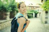 Girl traveler — Stock Photo