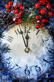 Christmas Eve and New Years at midnight — Foto Stock