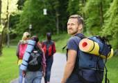 Hikers in forest. — Stock Photo
