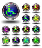 Accessibility glossy icons, crazy colors — Stock Photo