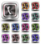 Aluminum Phone glossy icons, crazy colors — Stock Photo