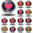 Red heart glossy icons, crazy colors — Stock Photo #61837395