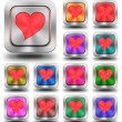 Red heart aluminum glossy icons, crazy colors — Stock Photo #61837379