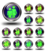 Group glossy icons, crazy colors. — Stock Photo