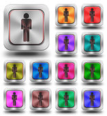 Men aluminum glossy icons, crazy colors — Stock Photo