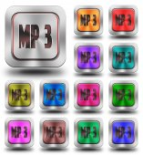 MP3 aluminum glossy icons, crazy colors — Stock Photo