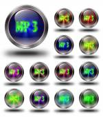 MP3 glossy icons, crazy colors — Stock Photo
