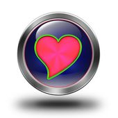 Red heart glossy icon — Stock Photo