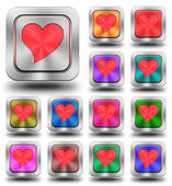 Red heart aluminum glossy icons, crazy colors — Stock Photo