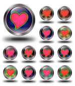 Red heart glossy icons, crazy colors — Stock Photo