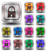 Security aluminum glossy icons, crazy colors — Fotografia Stock