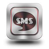 Sms aluminum glossy icon. — Stock Photo