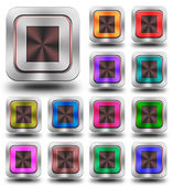 Stop aluminum glossy icons, crazy colors — Stock Photo