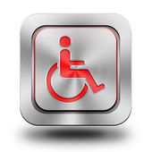 Wheelchair aluminum glossy icon, button, sign — Stock Photo