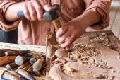 Craftsman wooden carving. — Stock Photo