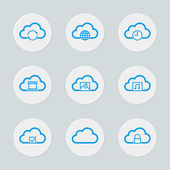 Cloud Computing Icon Set - File storage, sync, security and sharing — Stock Vector