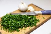 Cutting board knife onion garlic — Zdjęcie stockowe
