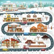 Life in the suburbs - winter — Stock Vector #54749249