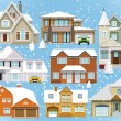 Snow covered city houses (Christmas) — Stock Vector #54749285