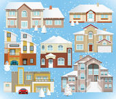Family houses (Winter) — Stock Vector