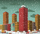 City in perspective (winter) — Stock Vector