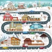 Life in the suburbs - winter — Stock Vector