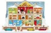 Inside the house (christmas) — Stock Vector