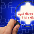 A goal without a plan is just a wish! word. Magnifier and puzzle — Stock Photo #77219065