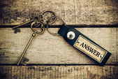 "The concept of 'answer"" is translated by key and silver key chai — Stock Photo"
