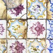 Detail of typical old Lisbon tiles, traditional decoration of Portugal — Stock Photo #78332200