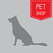 Silhouette of dog on the poster for veterinary shop or clinic — Stock Vector