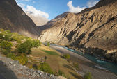 Agricultual field by the river , Northern Pakistan — Stock Photo