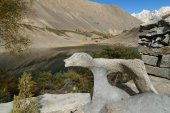 Stone in the shape of tiger by Borith Lake , Northern Pakistan — Stock Photo