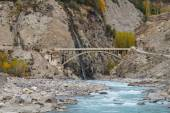 Confluence of Hunza and Nagar Rivers in Northern Pakistan — Stock Photo