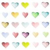 Beautiful Love Card with watercolor hearts — ストック写真