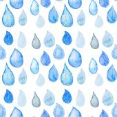 Watercolor seamless pattern with rain drops — Stock Photo