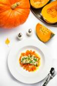 Seafood with pumpkin garnish — Stock Photo