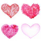 Světle červené a růžové srdce izolované — Stock fotografie