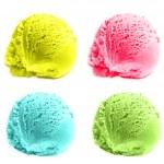 Four Mixed Scoops of ice cream — Stock Photo #70389701