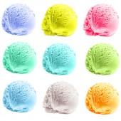 Nine scoops of colorful ice cream — Stock Photo