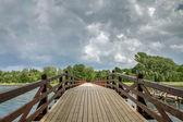 Wooden bridge for pedestrians — Stok fotoğraf