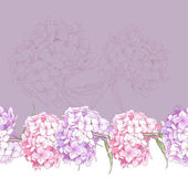 Beautiful Pink Hydrangea Seamless Floral Border — Stock Vector