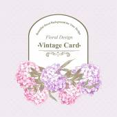 Vintage Greeting Card with Hydrangea and Peonies — Stock Vector